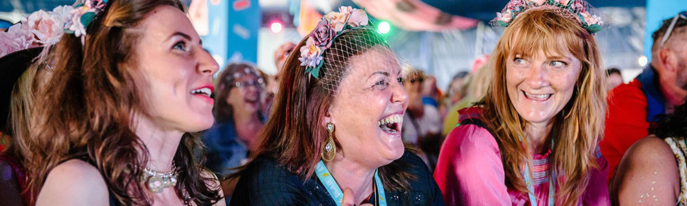 Audience laughing at Rewind Festival 2019